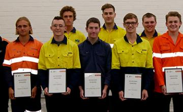 Bunbury Western Power Scholarship recipients with SR TAFE staff